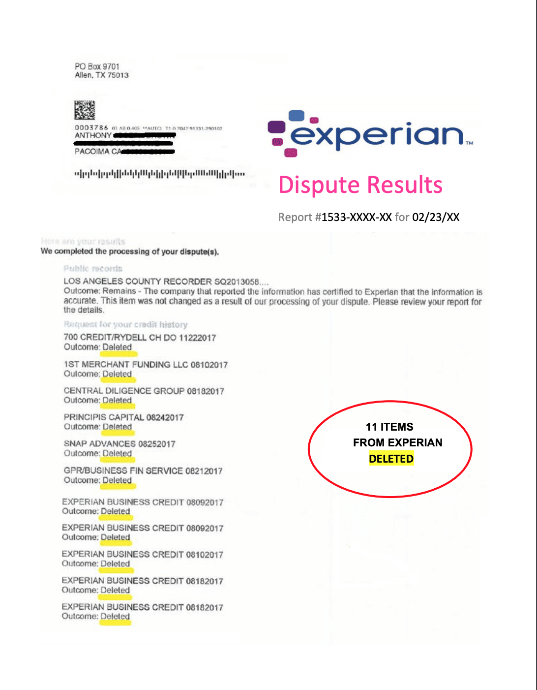 Experian Dispute Results Letter